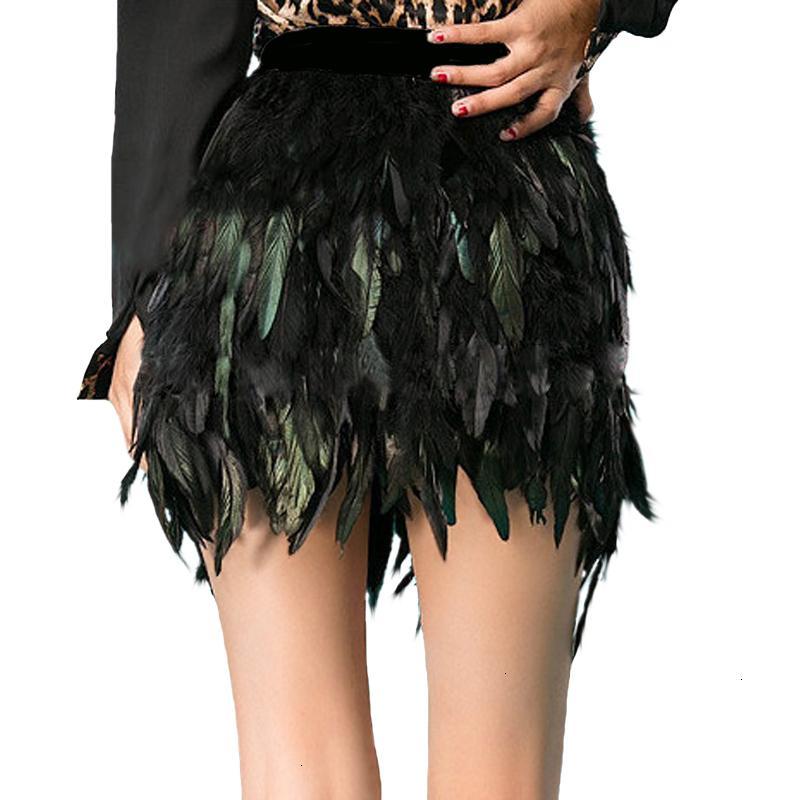 Black Swan Feather Mini saia Comprimento Camada totalmente Duplo Tecido Forrado Feather saia para o partido do evento plumagem Plume Skirt