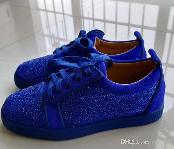Elegant blue Low Cut Suede Spikes rhinestones red bottom sneakers Flats shoes For Men and Women Leather Party Designer Summer Flat Shoes