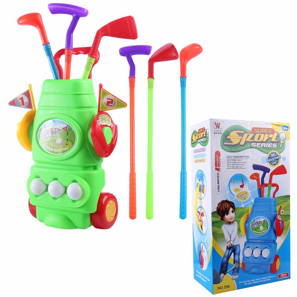 11pcs Caja de regalo de pic plástico de los niños Campo de Deportes conjunto de juguete Niños juego de golf de juguete con 3 clubes 2 agujeros 3 bolas y 2 Banderas