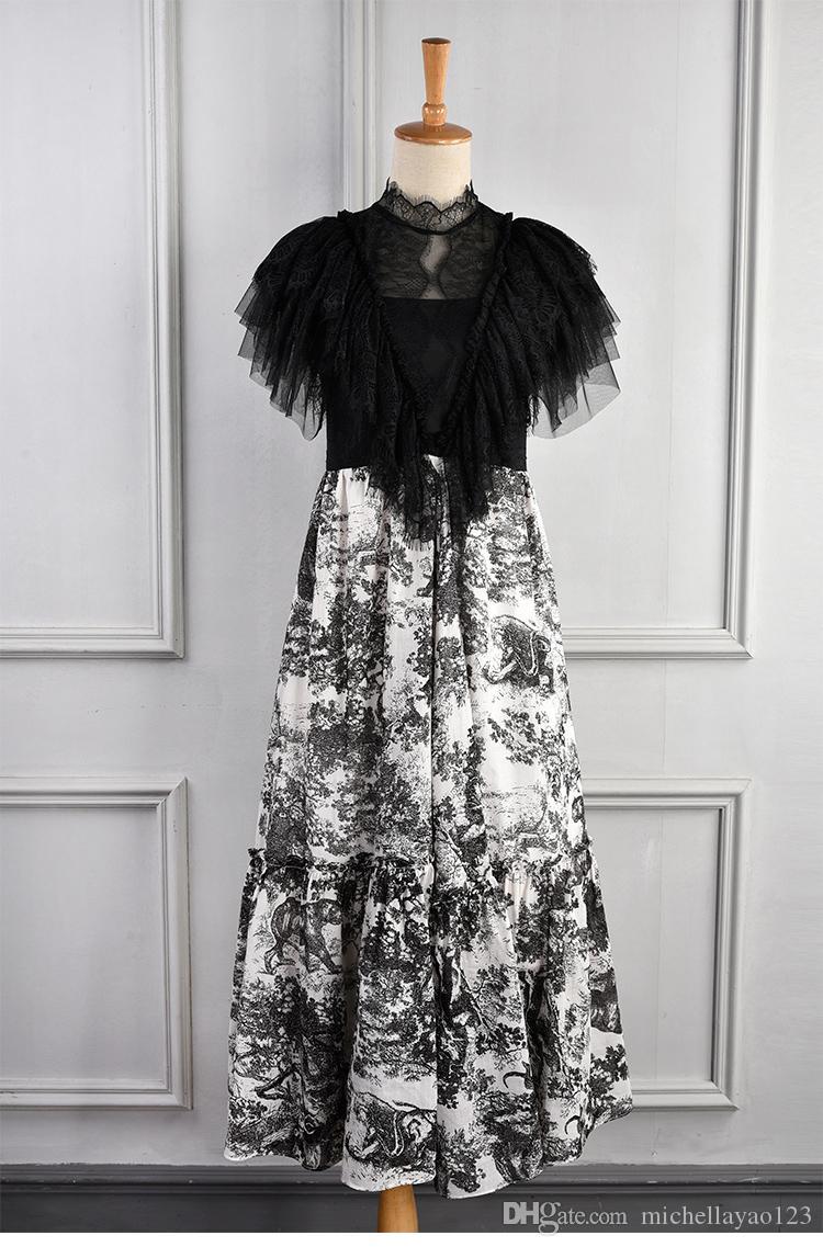 Milan Pist Elbise 2019 Vintage Siyah Dantel Ruffles Mürekkep Hayvan Uzun Kadınlar Elbise Designer vestidos de Festa yy-49 yazdır