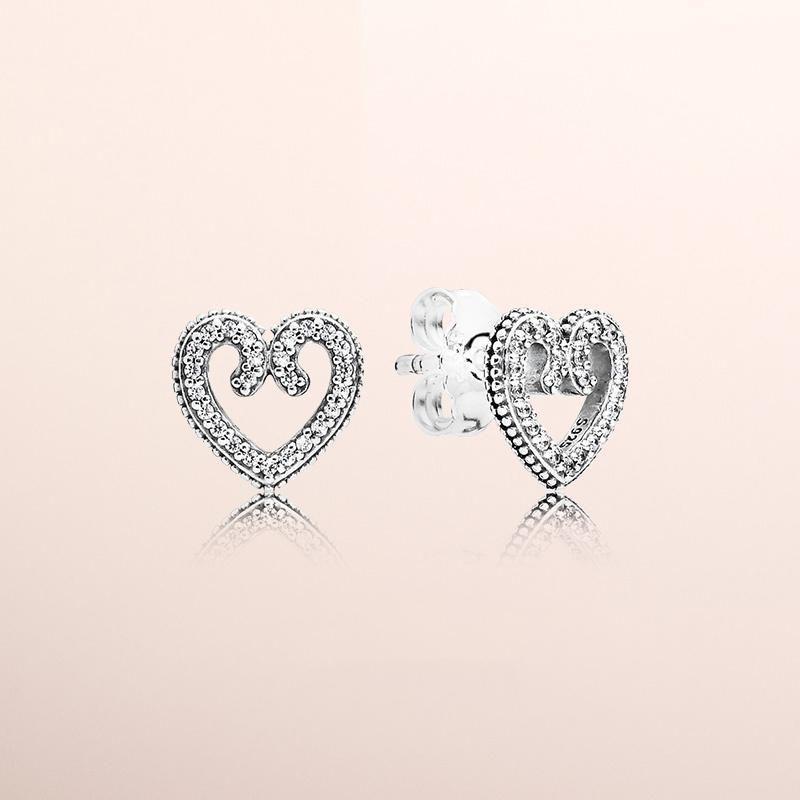 Stud orecchino Box All'ingrosso-NUOVO originale Set CZ diamante per Pandora dono di nozze Orecchini Donna Argento 925 Cuore