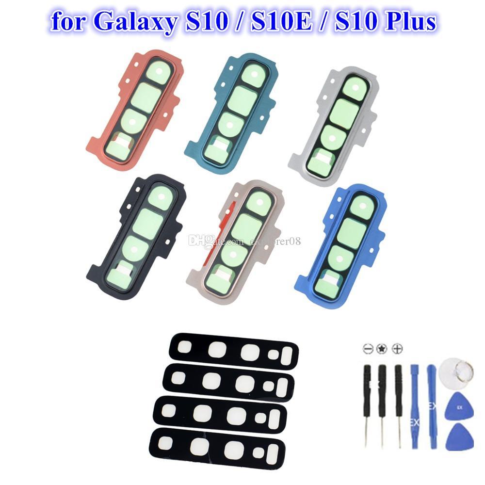 1PCS задняя камера Стекло рамка рамка Крышка для Samsung Galaxy S10 Plus S10e Задняя крышка объектива камеры держатель с наклейки клей Замена