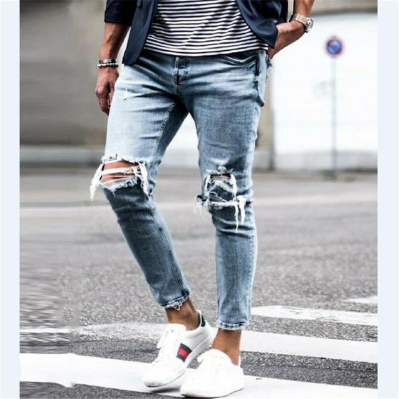 Neue 2020 Hose Jean Streetwear Hose Denim zerrissen Langstil Männer Casual Loch Jeans Hüfte Bleistift Hop Männliche Kleidung Vintage cool txork
