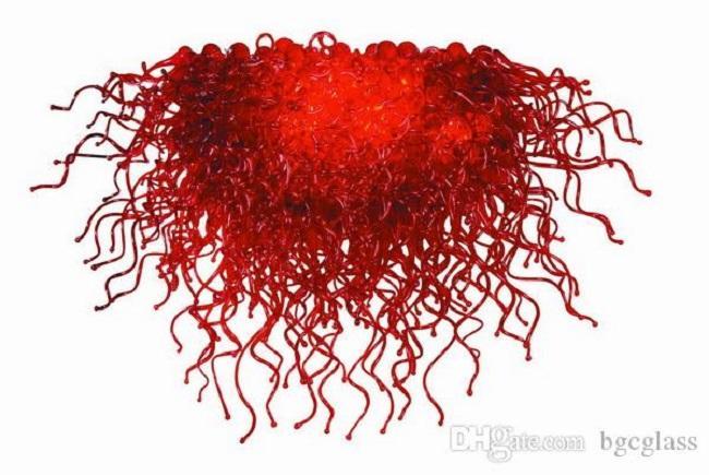 Сшитое висячие Сгорел Красный стекла Чихули Стиль Люстра Свет Современные хрустальные украшения искусства красного стекла Люстра Свет для домашнего декора