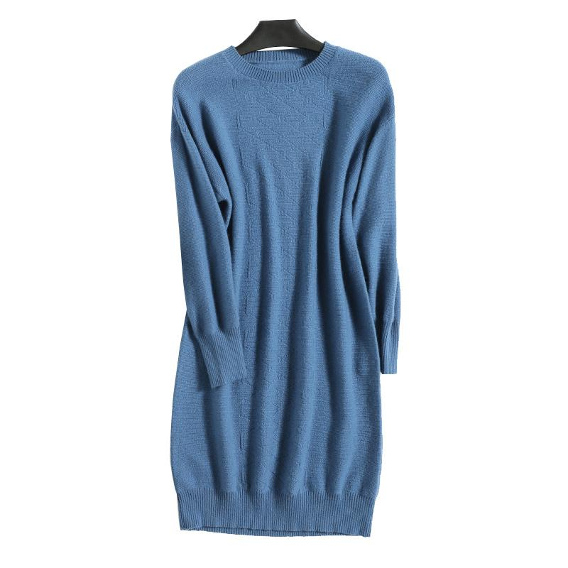 Winter New Longer Style Soft Woman Standard Clothes Sweater Dress Ladies Long Sweaters Cashmere Wool Knitting Pullovers