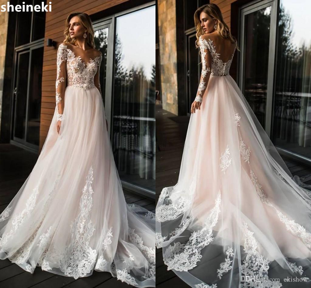 Robes de mariée manches longues rose pâle Illusion Corsage Appliques Dentelle Tulle Robes de mariée dos nu Robe de mariée chapelle