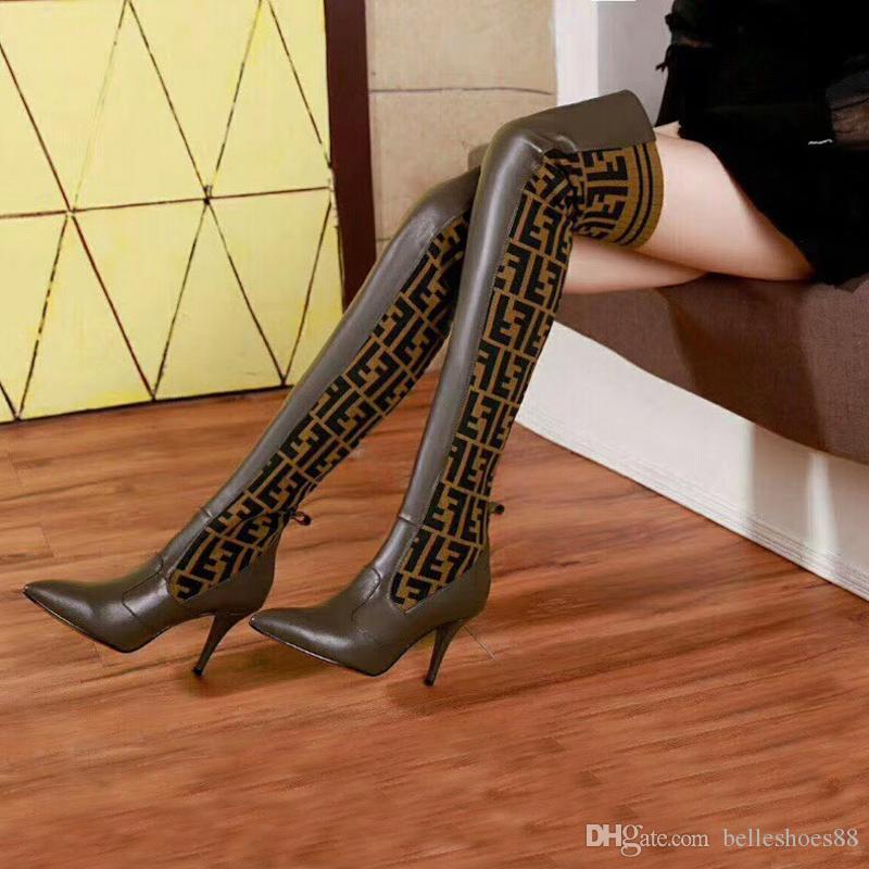 무릎 양말 부츠를 통해 패션 여성의 파리 고전적인 스타일 트리플 노란색 패션 부츠 여성은 허벅지 높은 부츠 캐주얼 신발 섹시