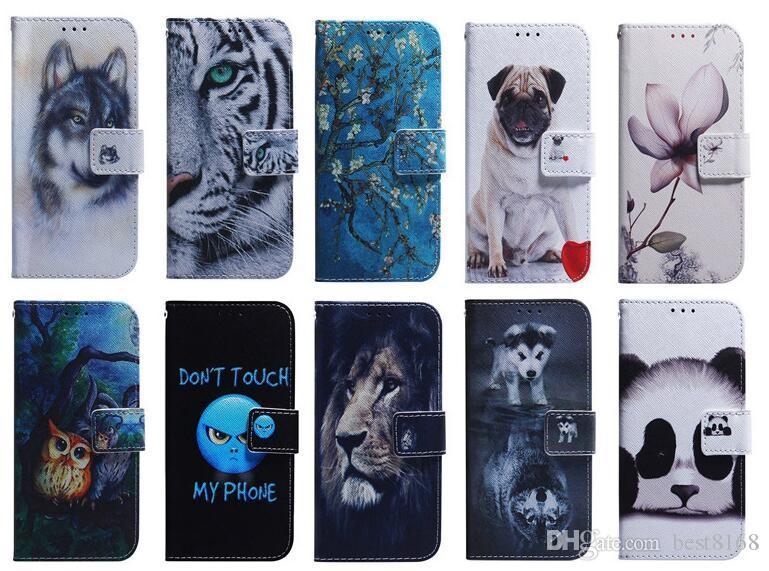 Aminal Funda de cuero para Huawei Mate 20 X Pro P30 Lite P Smart Y6 2019 Nova 4 Perro de flores Lobo Tigre Búho León Panda Ojo ID de la cubierta del tirón