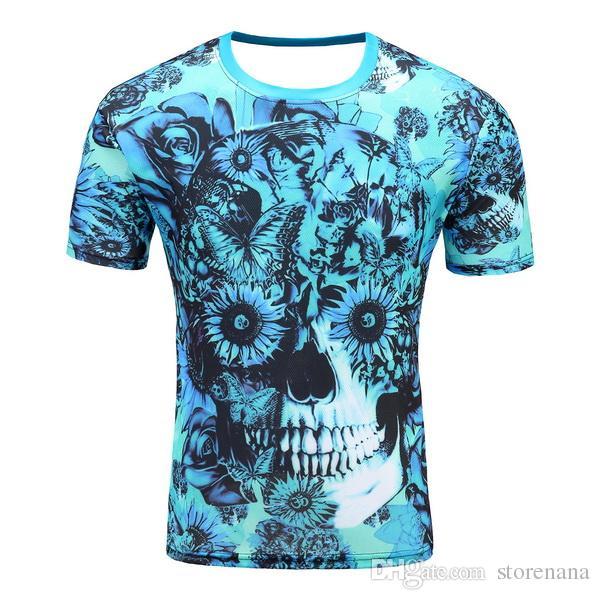 gym Man fashion Explosive money Rock Easy Head portrait Cultivate oneself digital printing 3D effect Round collar Short sleeve T-shirt