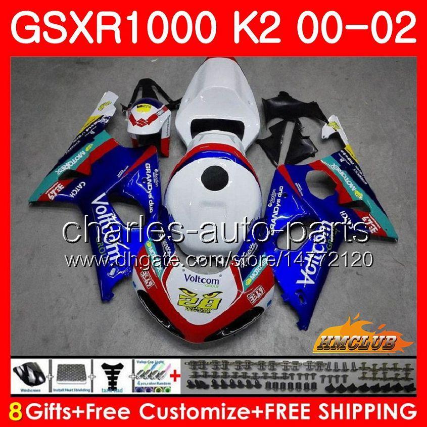 Frame voor SUZUKI GSX-R1000 GSXR1000 K2 GSX R1000 00 02 BODYS KIT 14HC.18 GSXR-1000 GSXR 1000 00 01 02 2000 2001 2002 FUNLING BLAUW WIT NIEUW NIEUW