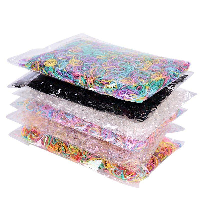 3000pcs / bag 아기 TPU 머리 홀더 고무 밴드 Elastics 소녀의 넥타이 껌 편지지 홀더 밴드 루프 학교 사무 용품