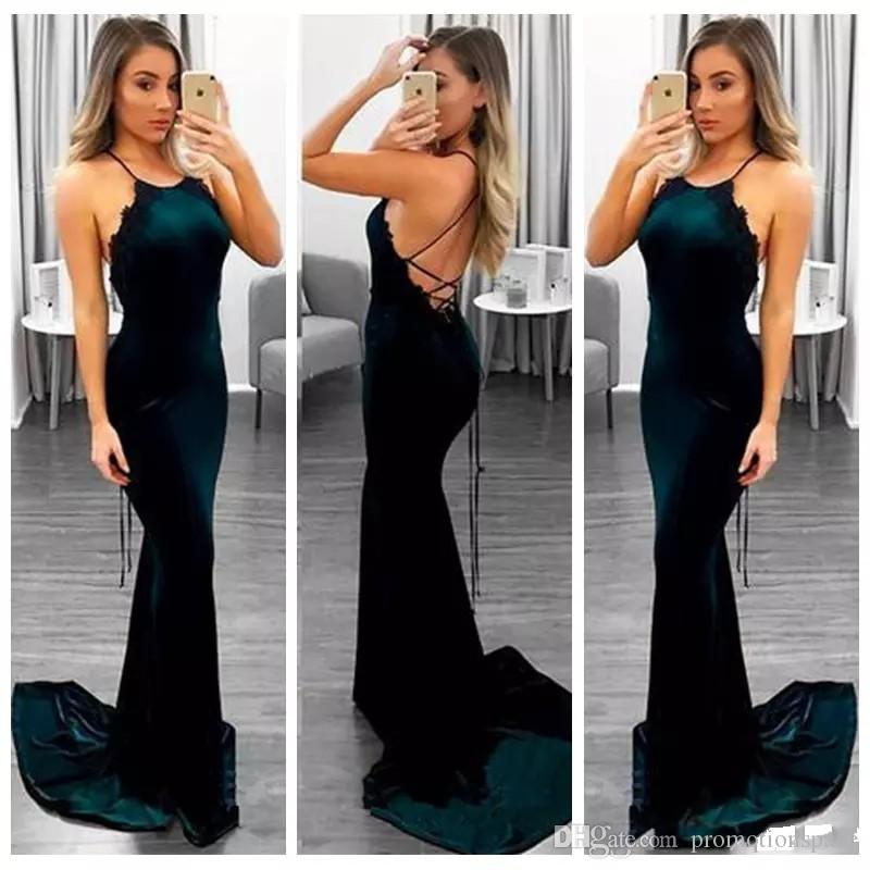 Hunter Green Sexy Back Mermaid Velvet Prom Dresses Long Lace Appliques Party Wear Sweep Train Evening Dress 2018 Special Occasion Gowns