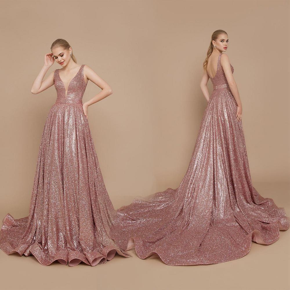 2020 Riccasposa or rose robes de soirée col en V profond Paillettes manches Robes de bal balayage train Backless fête officielle Robes