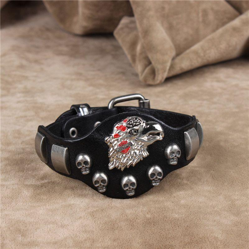 Vintage Genuine Leather Punk Wide Bracelet Rock Cowhide Bracelets Casual Men'S Harley Eagle Charm Bracelet Wristband Jewelry