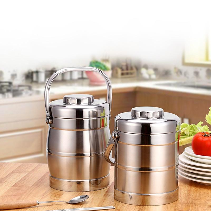 Stainless Steel Lunch Box Thermos Lunchbox School Student Bento Boxs Kids Adult Kitchen Bbq Tools Food Container Portable C18112301