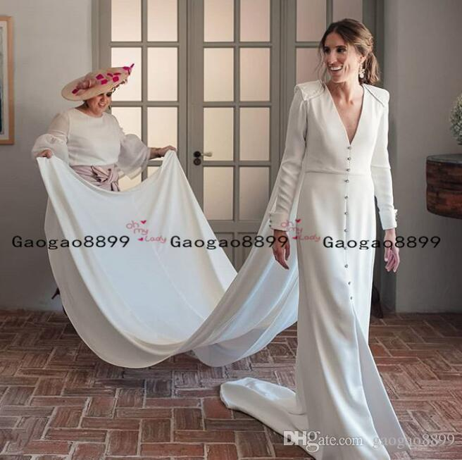 2020 vintage Boho Sheath Wedding dresses long Sleeves country garden Rustic Bridal Dress sexy v neck sweep train long cape bridal gowns