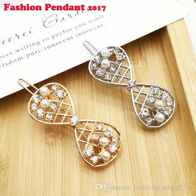 New Vintage Hairpins Metal Bow Knot Hair Barrettes Girls Women crystal Hair Accessories Hairgrips New Clip