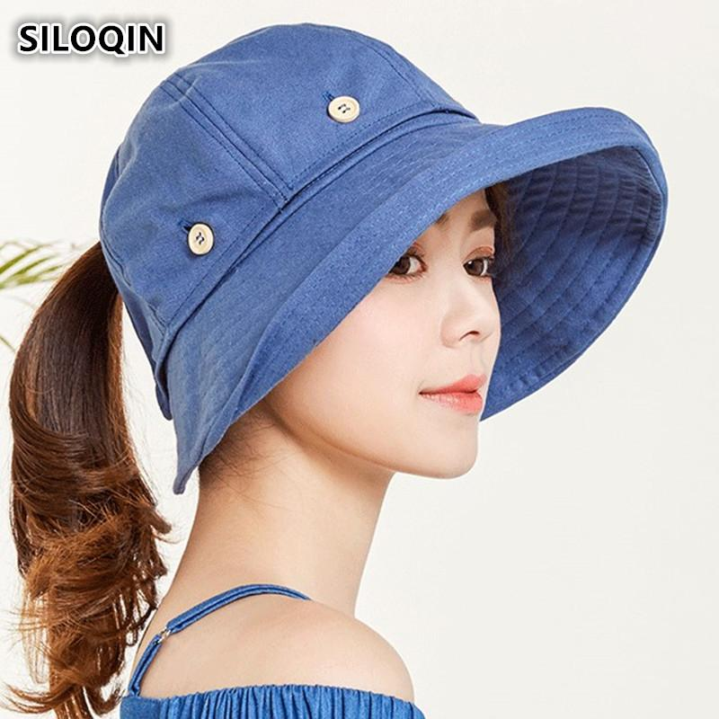 SILOQIN Summer Adult Women's Hat 2018 New Style Removable Top Big Brim Sun Hat UV Resistant Cloth Beach Hats For Women