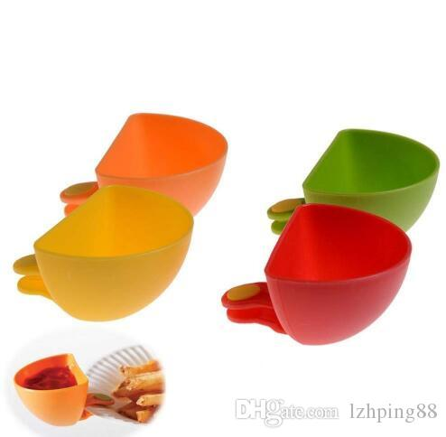 Assorted Salad Saucer Ketchup Jam Dip Clip Cup Bowl Saucer Cup Tableware Home Kitchen Accessories Fruit Vegetable Tool
