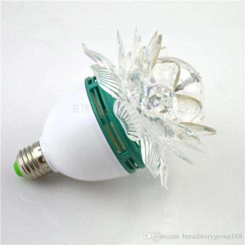 LED Stage Lights Lotus Lights Household Crystal Magic Ball Beam KTV Colorful Rotating Lights with E27 Lamp Holder