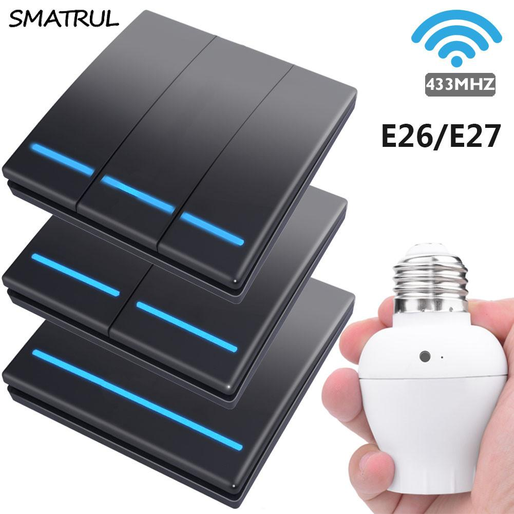 SMATRUL E26 E27 Lamp holder smart push Wireless Switch Light bulb 433Mhz RF Remote Control Wall Panel home 110V 220V 1/2/3 gang T200605