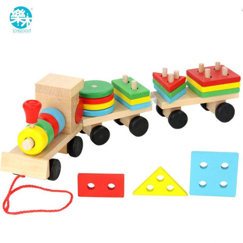 طفل لعب الاطفال مقطورة خشبية كتل قطار سيارة الهندسة / اللون Congnitive كتل تربية الطفل عيد الميلاد / عيد الميلاد هدية Y200318