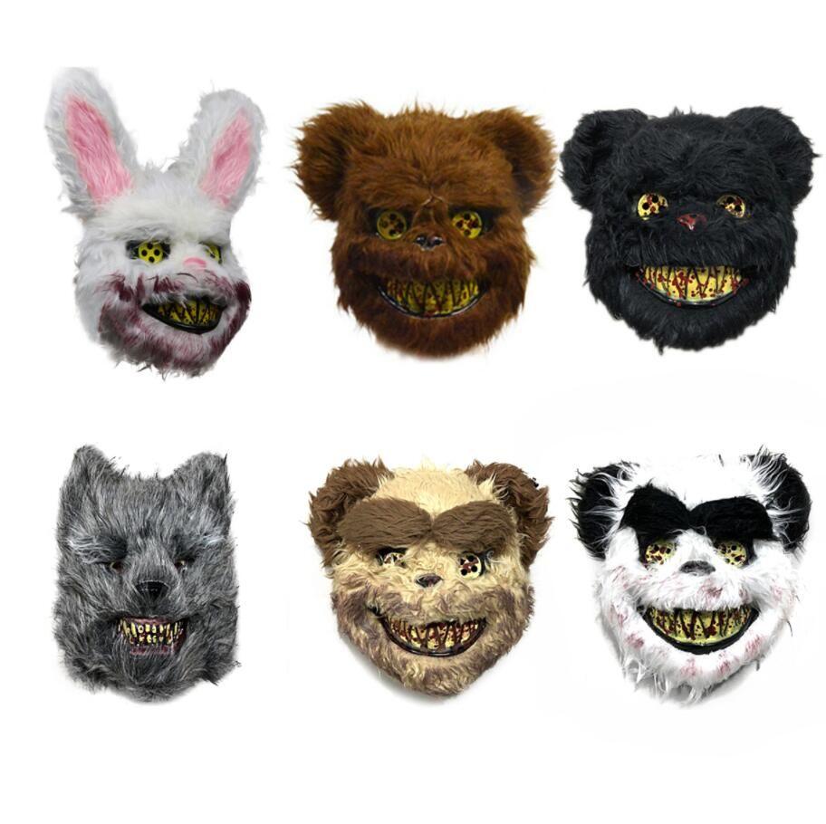 Nuovo Bunny Testa di animale Maschera Prank Male sanguinosa coniglio pauroso Mascara peluche PVC Horror Killer Anonymous maschera bianca per bambini adulti
