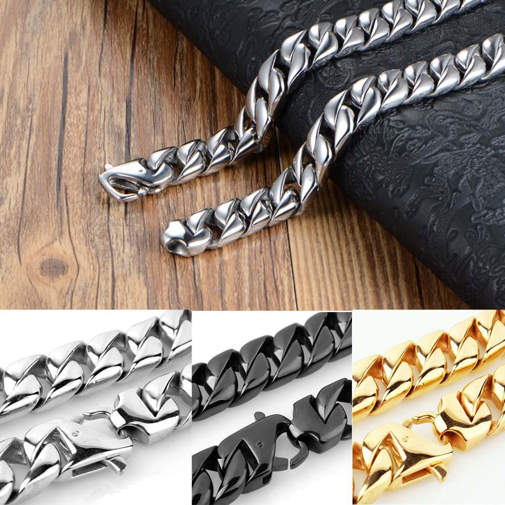 Высокое качество нержавеющей стали ювелирные изделия высокого отполированный Тяжелое Снаряженная кубинский Link ожерелье Мужчины напыщенные Punk Chain 60см * 1.5см 3Colors
