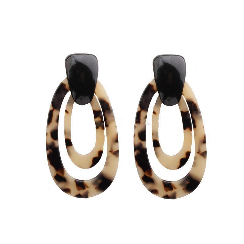 Leopard Print Acrylic Earrings Big Statement Earrings for Women Resin Geometric Drop Dangle Earrings Bohemian Jewelry