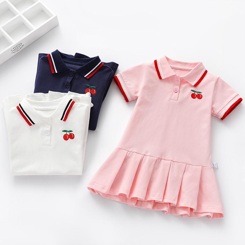 Kız Yaka Elbise Çocuklar Kısa Kollu A-Line elbiseler Yaz Moda Nakış Pileli Etek Çocuk Zarif Kız Bebek Tasarımcı Giyim için