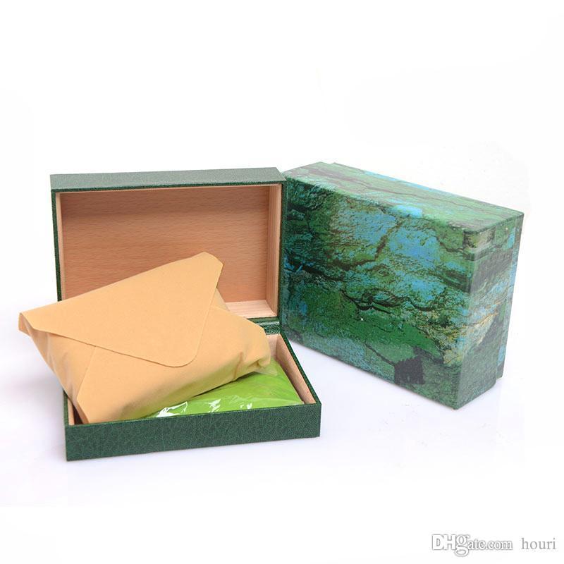 Corona logo Watchs Scatole di legno verde regalo di legno watchs degli uomini di sicurezza orologi scatola in pelle Watchs Boxs