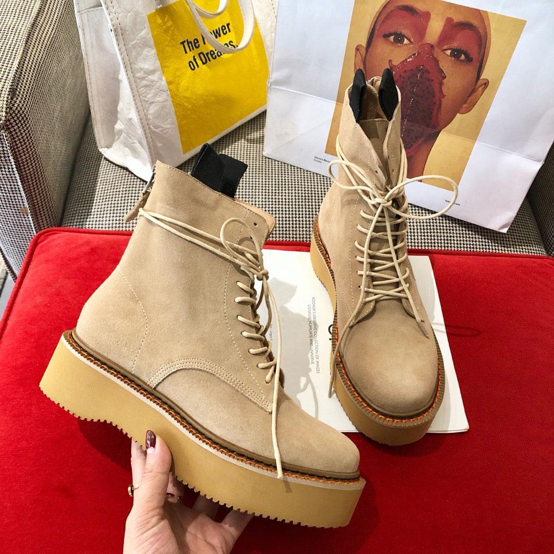 Sıcak satış-Askeri Yuvarlak Burun Düz Topuk Martin Bilek Boots heightening Ayakkabı Lüks Combat Taktik Çizme Topuk 6cm Boyutu 35-41 Yukarı Dantel