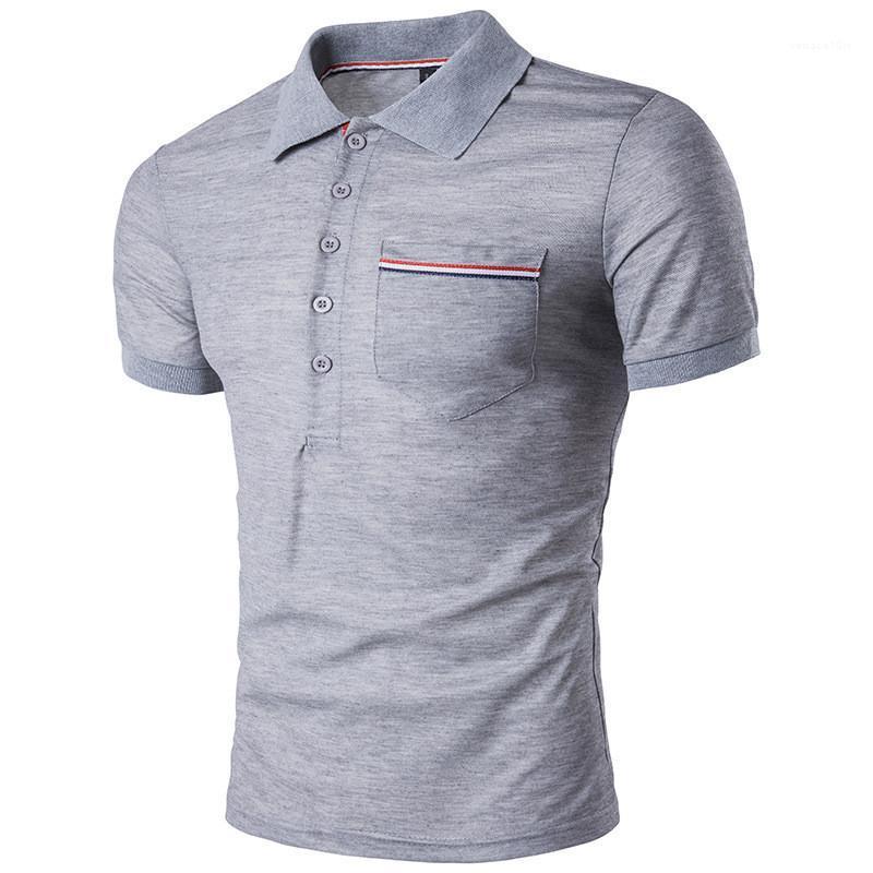 Mens Summer Tops Англия Стиль Мужских Дизайнер Polos Мода Solid Color отворот шея с коротким рукавом рубашки поло Casual