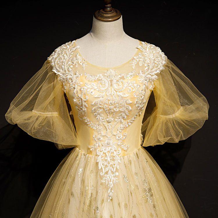 100% echte leichte goldene Rokokostickerei Karneval Ballkleid mittelalterliche Renaissance Kleid Königin viktorianischen Kleid / Marie Antoinette / Studio