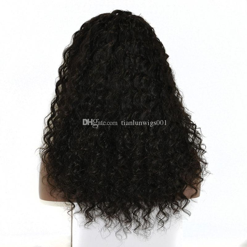 Human virgin hair natural color 16 inch 150% density deep wave hair full lace wig beautifull women hair lace front wig for sale