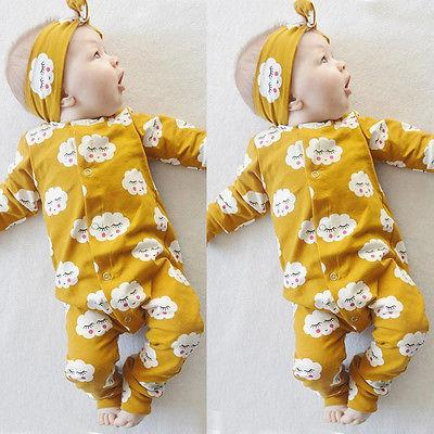 2Pcs/Set!Autumn 2016 Newborn Baby Kids Girlsclouds printing long sleeve Romper Cotton Jumpsuit With headband Outfits Set 0-18M