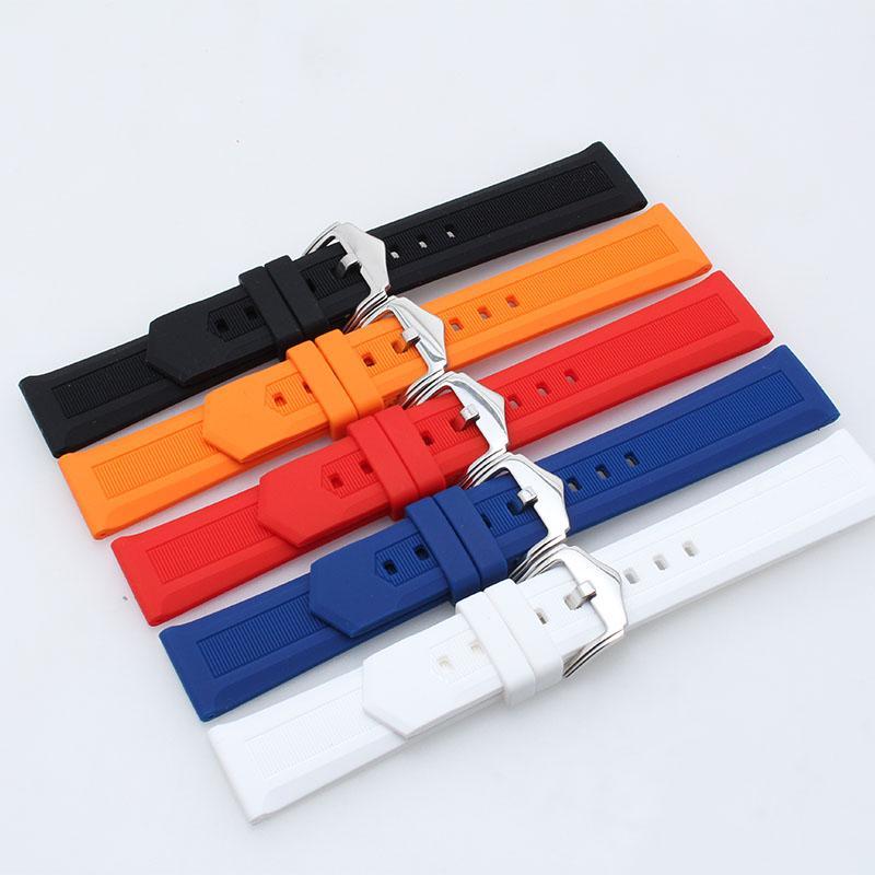 Silikon kauçuk spor evrensel watch band erkek ve kadın pin toka izle aksesuarları 18mm 20mm Siyah Mavi Beyaz Kırmızı turuncu