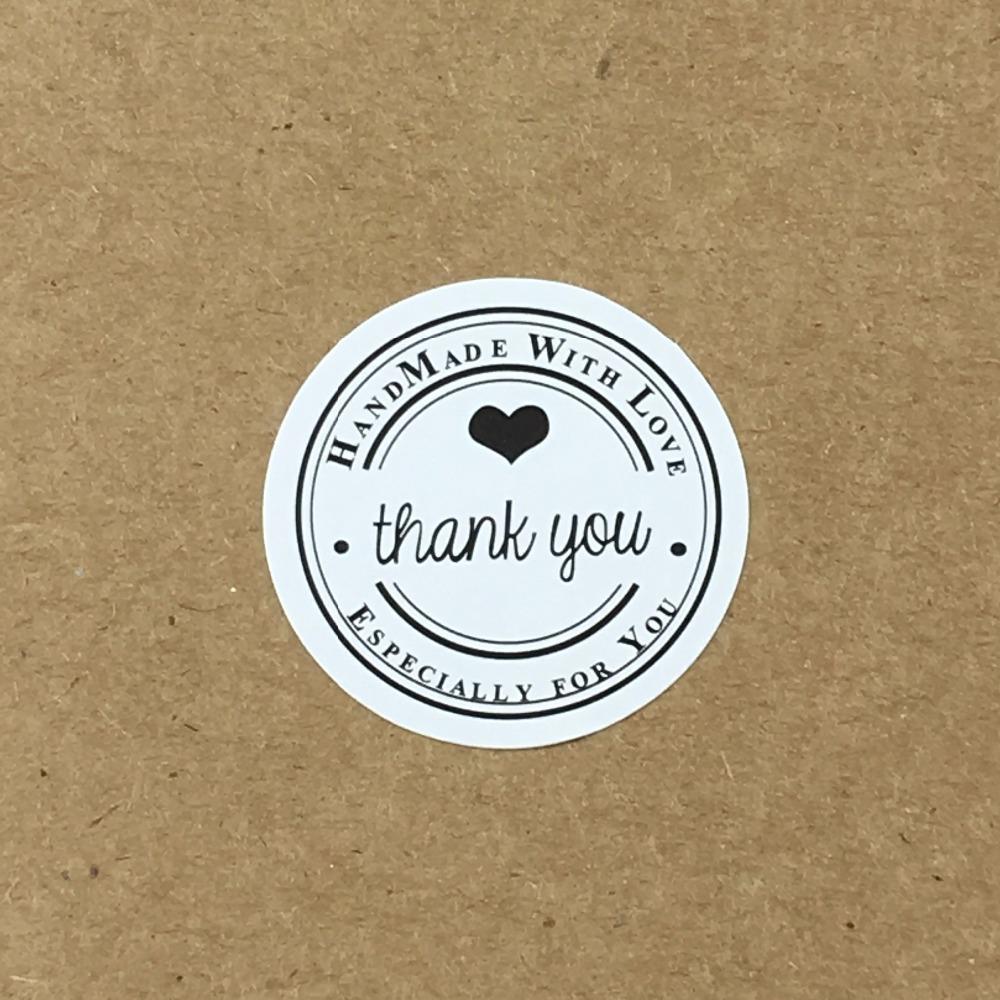 3cm GRACIAS hecha a mano blanca con pegatinas amor Círculo de etiquetas de papel del libro de recuerdos del sello adhesivo de etiquetas de regalo del paquete