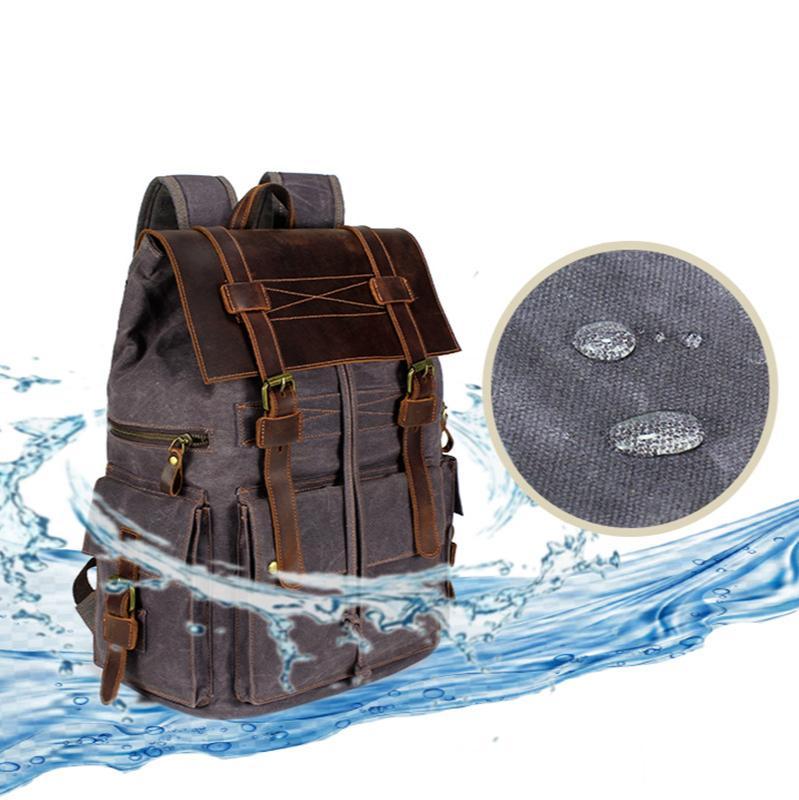 TOtrait im Freien klassischen wasserdichten Segeltuch-Rucksack-Leder-Mann-Frauen-Rucksack Reisetasche Großer Gewachste Teenager Laptop