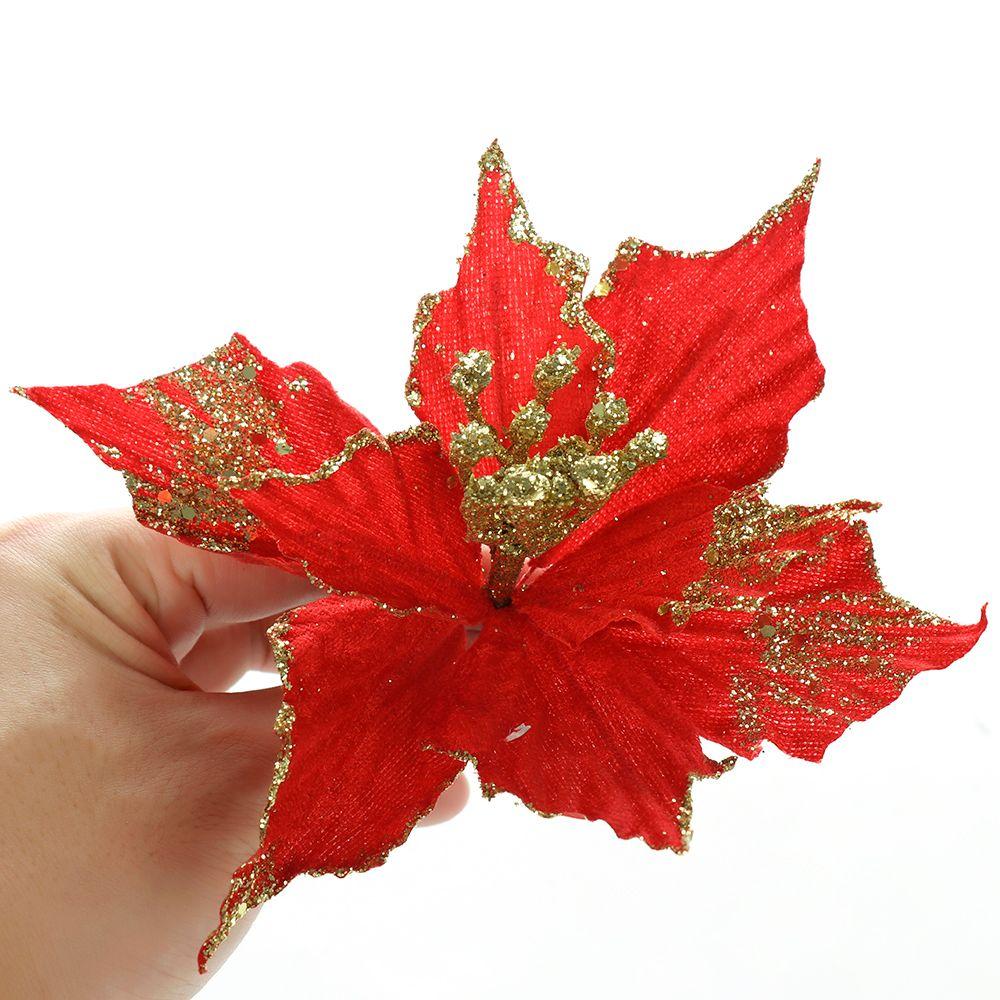 Enfeites de natal Falso 1Pc Glitter Artificial flores do ouro Xmas Silk Partido Simulação flor do casamento Decoração da poinsétia