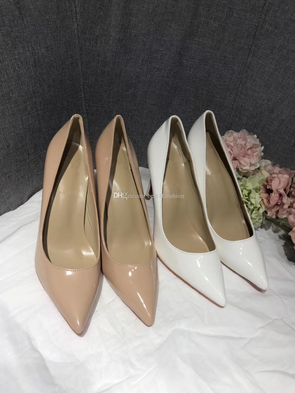 Mode chaussures femmes de design de luxe en cuir nude hauts talons de mariée haut bout pointu talon pompes dames en cuir nude carrière chaussures EUR34-42