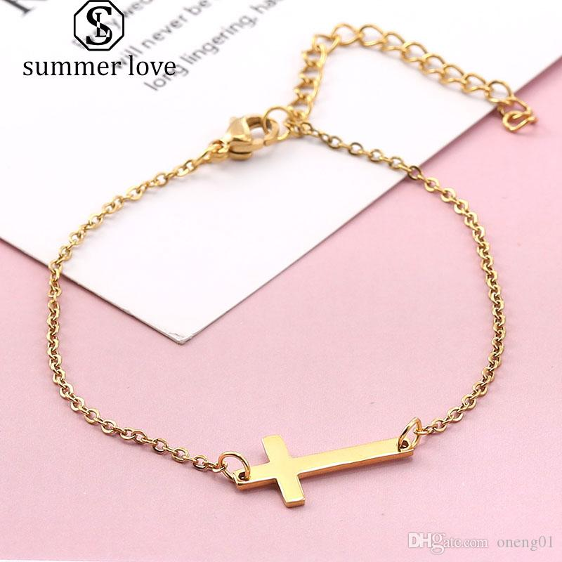 Catholic Rosary Prayer Bracelet Gold Silver Stainless Steel Chain Bracelets Bangles Jesus Cross Charm Statement Bracelets Fashion Jewelry