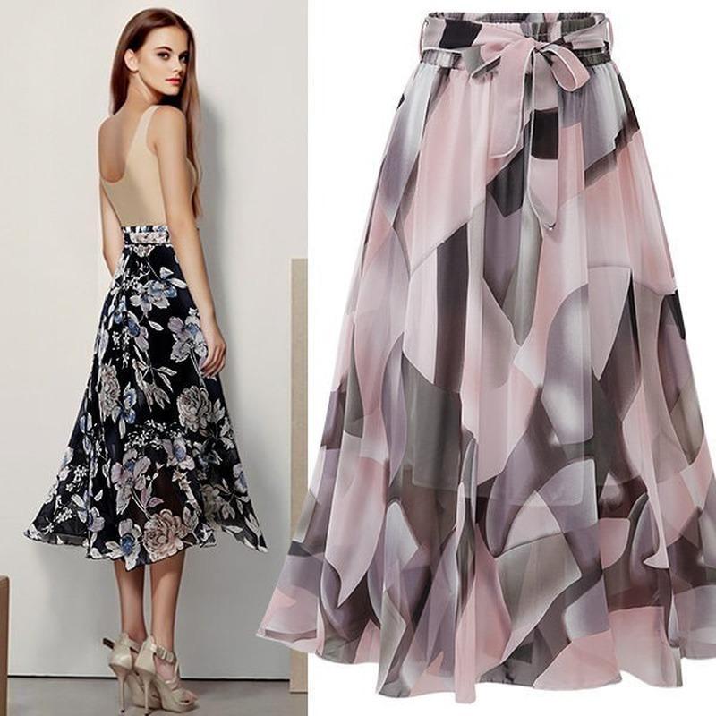 Летние юбки женщин вскользь печати высокой талией Элегантная юбка Новое прибытие лето линия Vintage Sexy Повседневная мода Streetwear