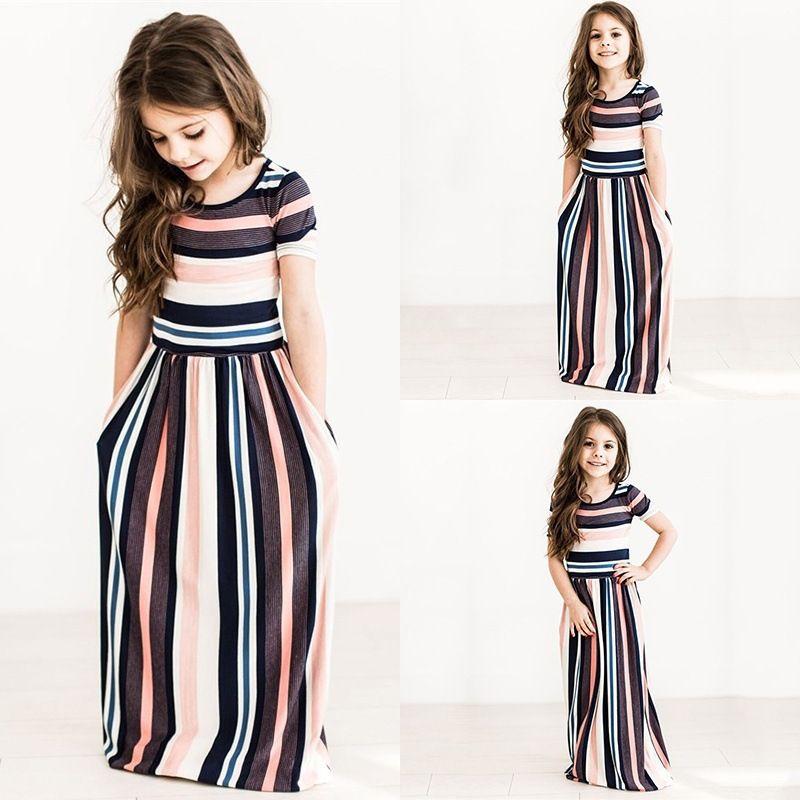 Розничные детские дизайнерские платья для девочек в полоску с принтом на шею с коротким рукавом платье принцессы пляж плюс летние платья детская одежда