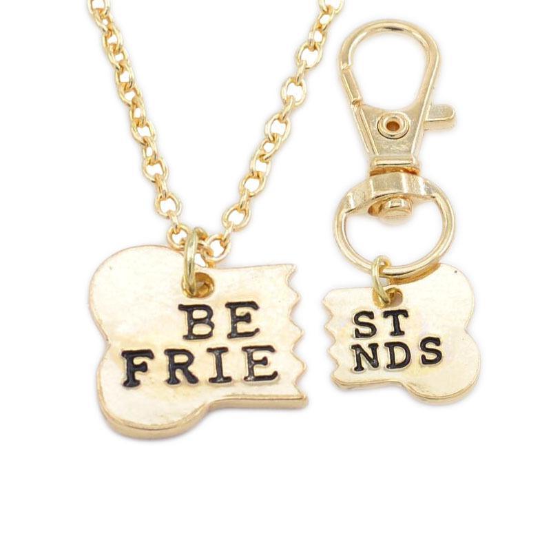 Изысканные ожерелья лучшие друзья наборы 2шт/комплект собака кость лучшими друзьями очарование ожерелье брелок БФФ кости ювелирные изделия Дружба