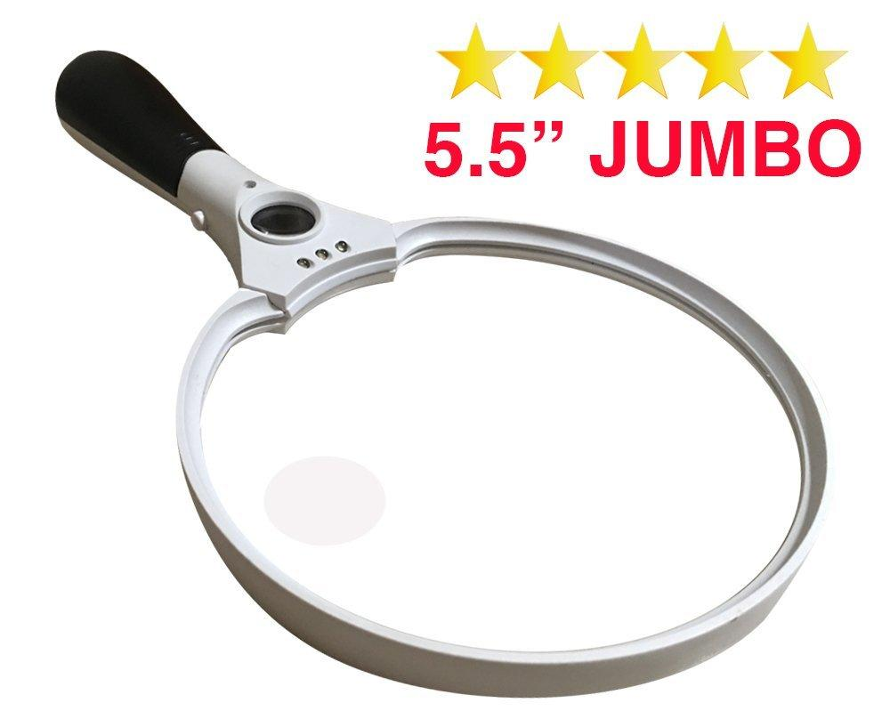 Handheld 3 LED Reading Magnifier 25X Large Magnifying Glass Bright Light Reading