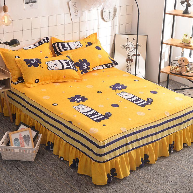 Bettrocksatz bedcover in bedspread Königs Größe 2 pillowcase 1 Bett Rock bedskirt betcover Großhandel bedsheets gesetzt