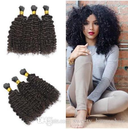 Hiçbir atkı 8A afro sapıkça kıvırcık doğal renk toplu saç örgü için Malezyalı insan saç dökme