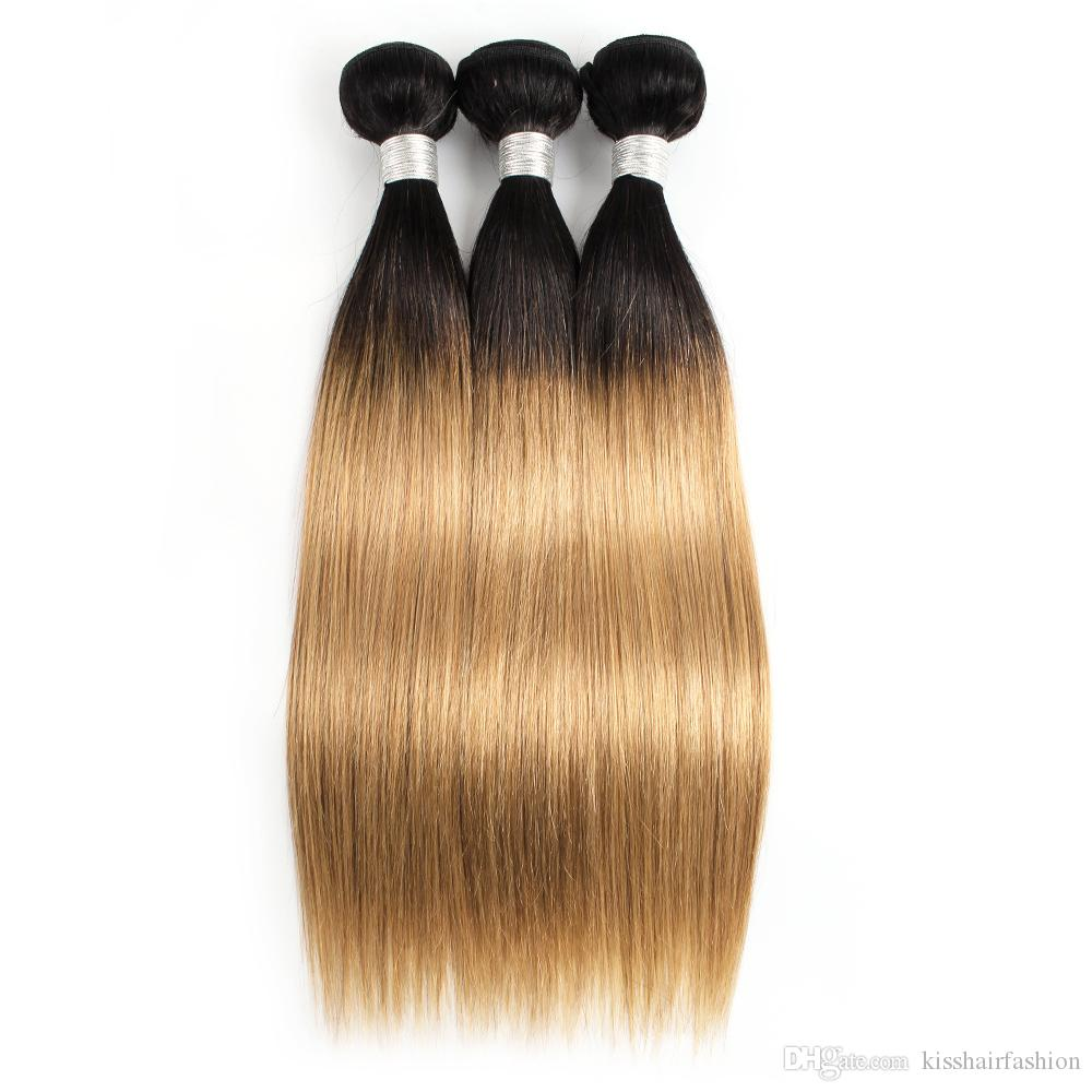 Renkli Perulu Saç 3 Demetleri Düz T 1B 27 Sarışın Ombre Saç Kısa Bob Tarzı Brezilyalı Hint Kamboçyalı Virgin İnsan Saç Örgüleri