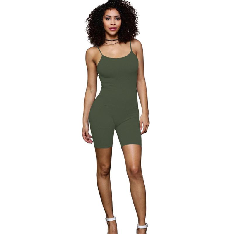 2018 Summer New Rompers Women Jumpsuits Bodysuits Sleeveless Round Neck Black Green Bodycon Skinny One Piece Shorts Sexy Rompers Y19051601